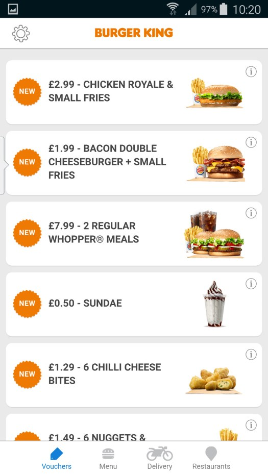 Burger King Voucher Screen