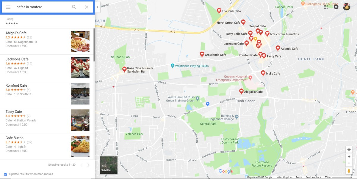 Google Map of Cafes in Romford.