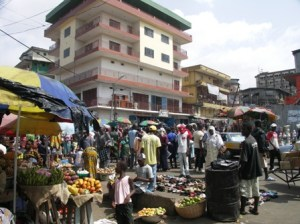 Street market in central Freetown