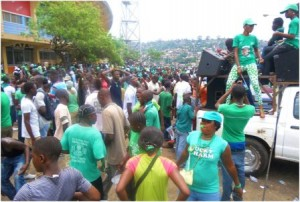 SLPP-supporters in freetown - 9 oct 12