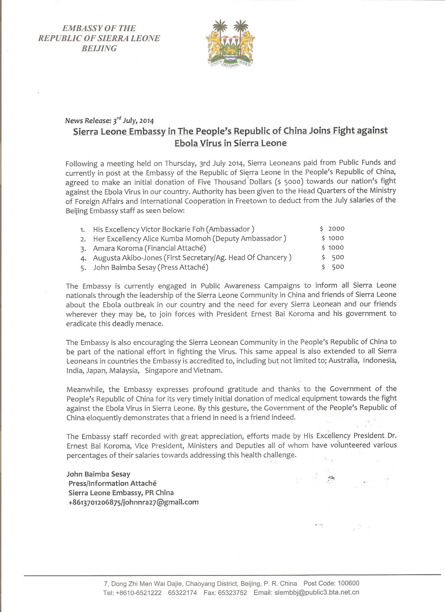 Fight against Ebola Virus in Sierra Leone