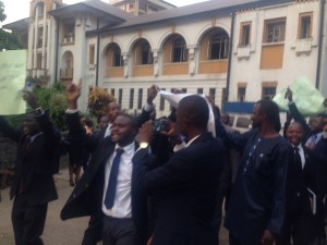 Lawyers protesting after arrest of a lawyer