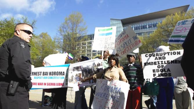 Dr  Fuambai Sia Ahmadu and other Concerned Sierra Leoneans USA - demonstration against President Koroma