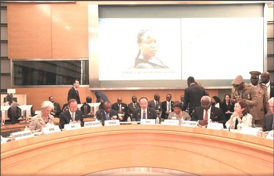 President Koroma - third from right  at the Ebola Recovery Plans High-level Roundtable