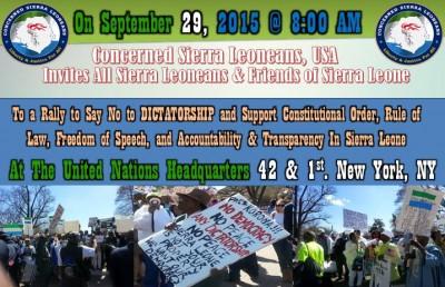 Concerned Sierra Leoneans USA Protest Flyer