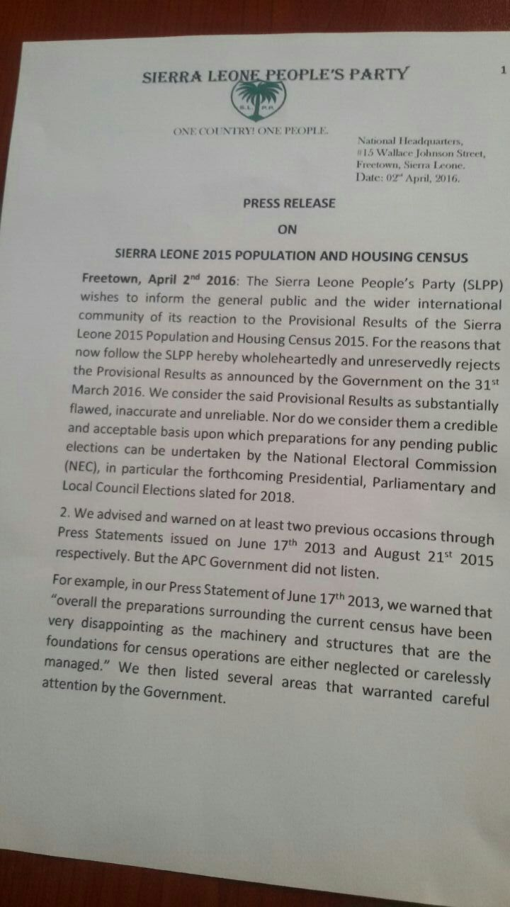 SLPP responds to 2015 census1