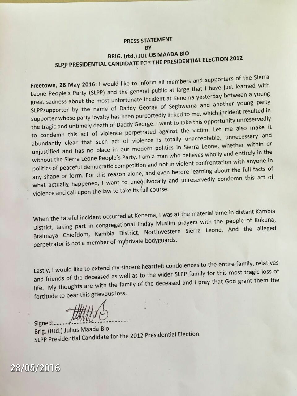 Bio's statement after killing of SLPP supporter - May 2015