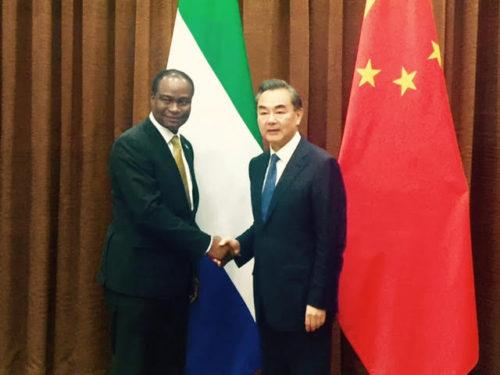 Dr  Samura Kamara and his Chinese counterpart
