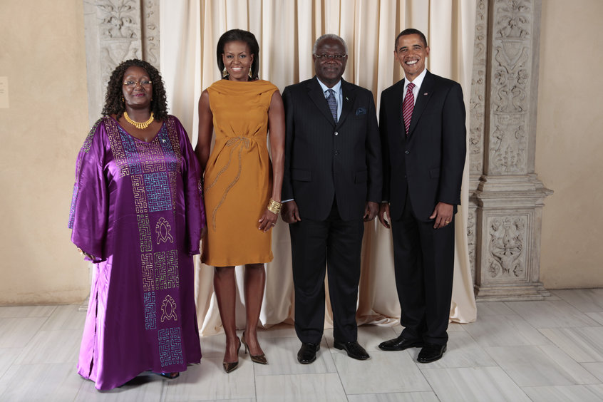 President Barack Obama and First Lady Michelle Obama pose for a photo during a reception at the Metropolitan Museum in New York with, H.E. Dr. Ernest Bai Koroma President of the Republic of Sierra Leone and his wife, Mrs. Koroma, Wednesday, Sept. 23, 2009.