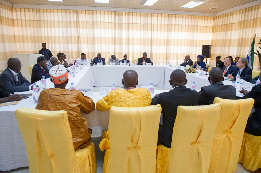 Ban ki moon meeting political parties in Freetown