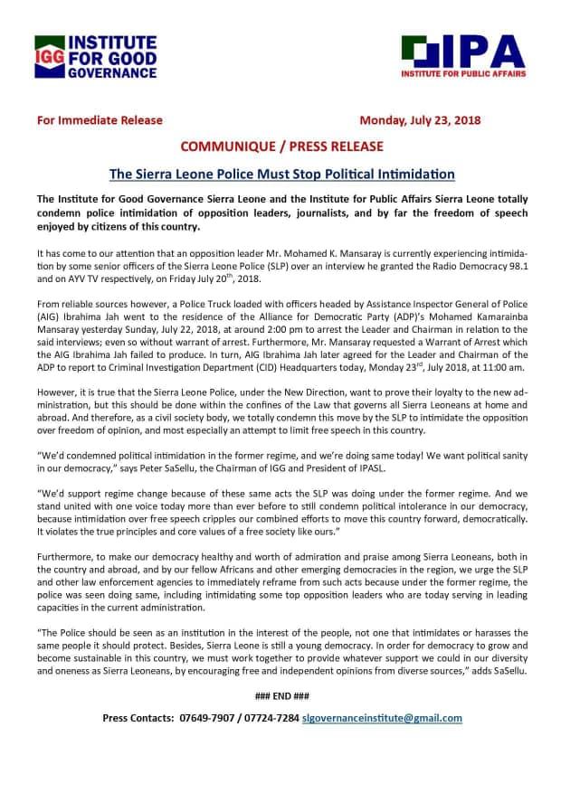 Institute of good governance SL press statement – 23 july 2018
