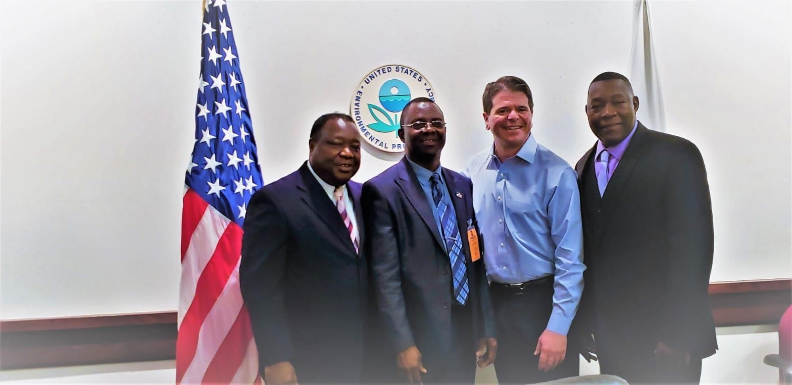 Executive Chairman of the Environment Protection Agency – Sierra Leone, Dr. Foday Moriba Jaward (center left), posing with officials of the Environment Protection Agency – USA
