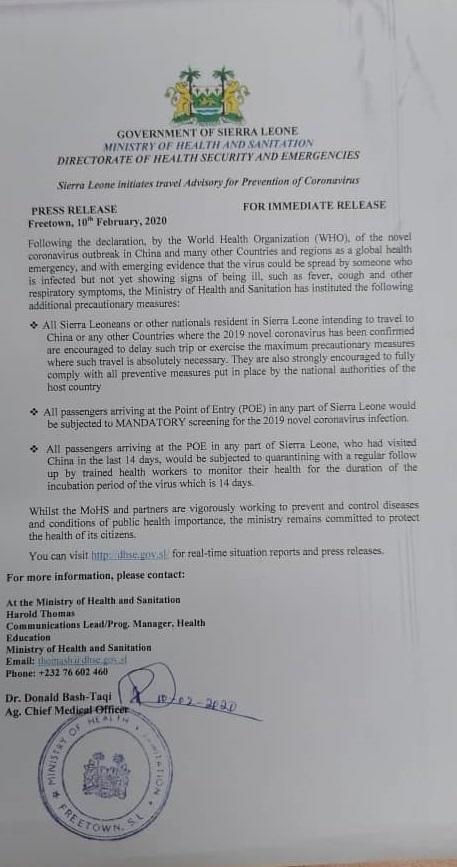 Sierra Leone initiates travel Advisory for Prevention of Coronavirus