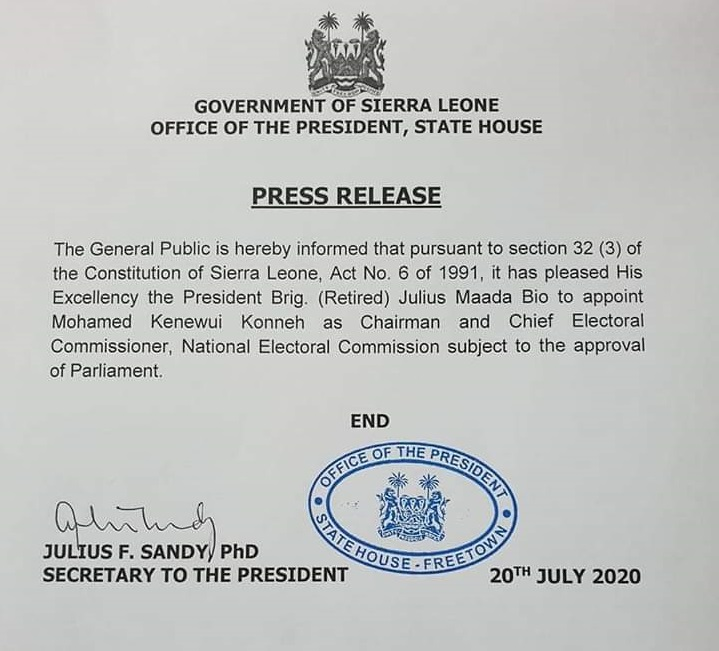 President Bio appoints new chief electoral commissioner – 200720