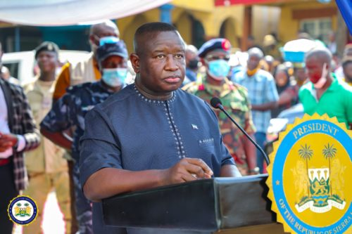President Bio lays foundation for a major road construction in Freetown