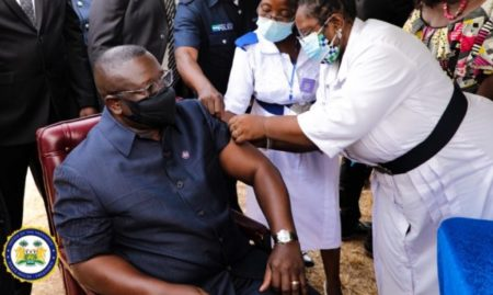 Sierra Leone's President Bio leads the way in taking COVID-19 Vaccine 1