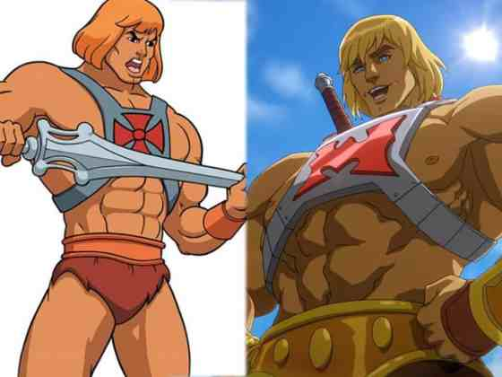 Comparison between scrawny 80s He-Man and Beefier Masters of the Universe: Revelations He-Man