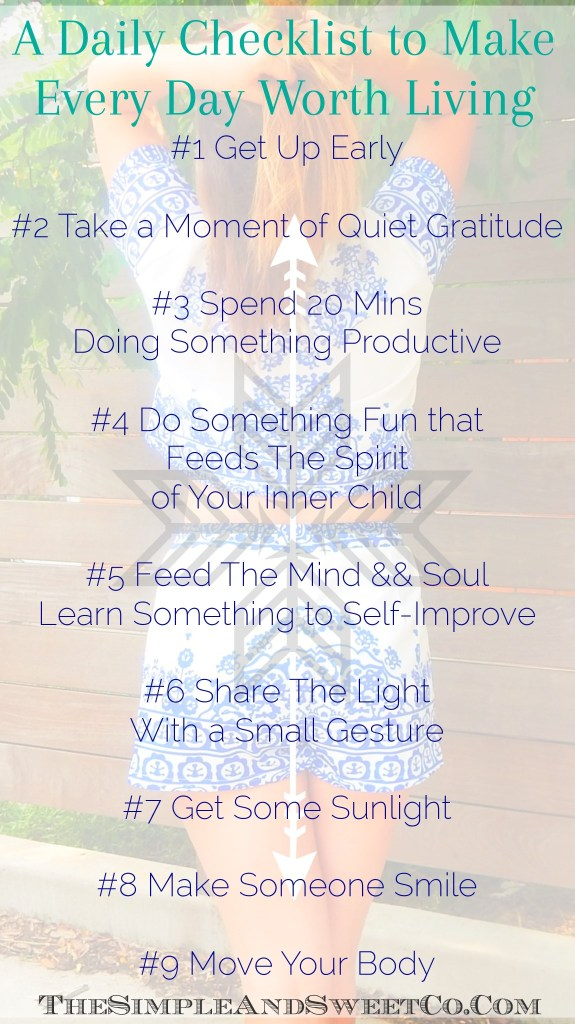 Daily Checklist To Make Everyday Worth Living Pin