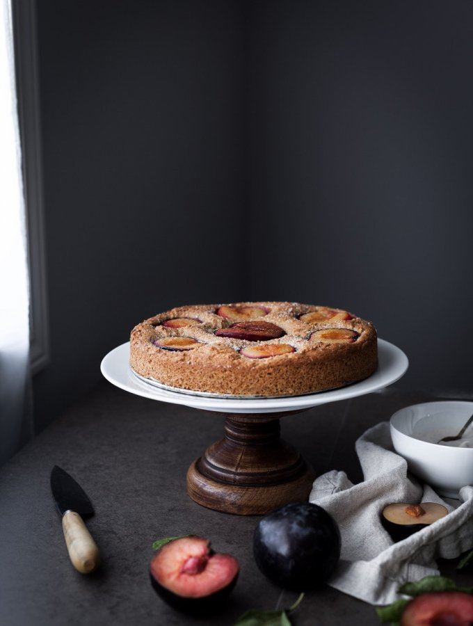 plum cake sitting by open window