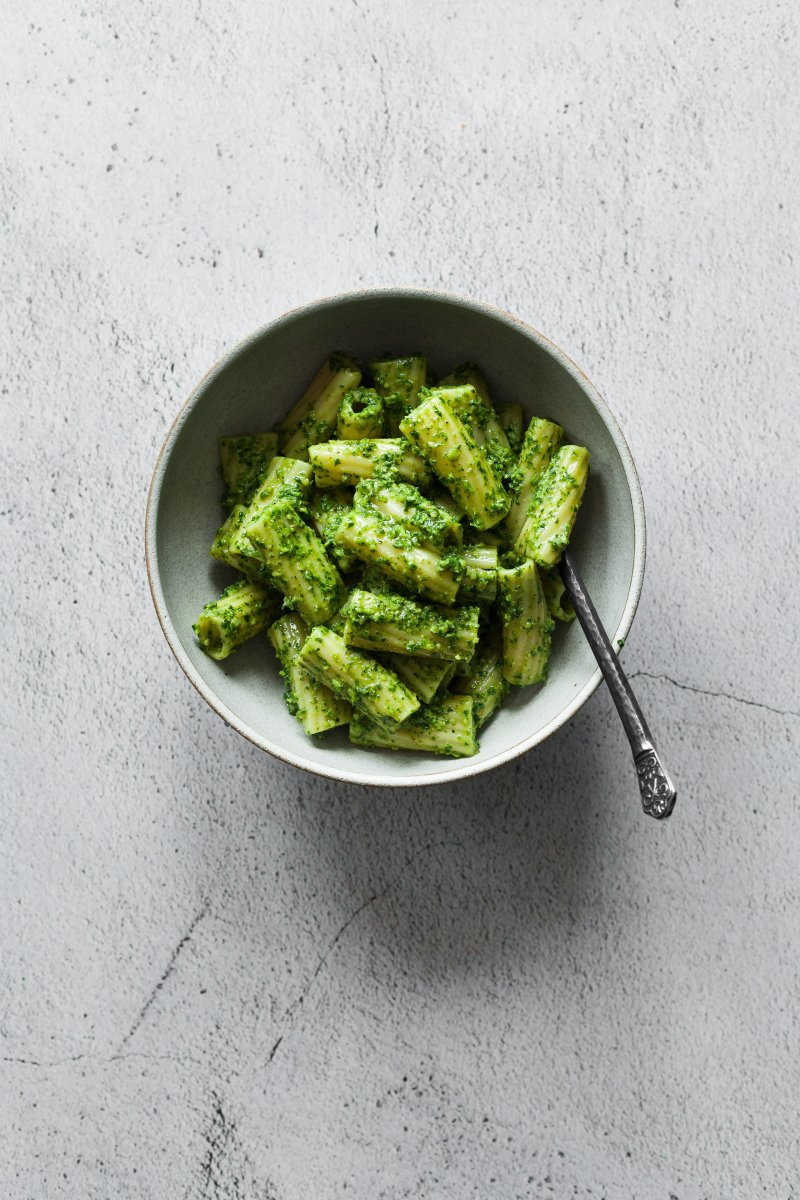 RIGATONI with PARSLEY WALNUT PESTO [vegan]