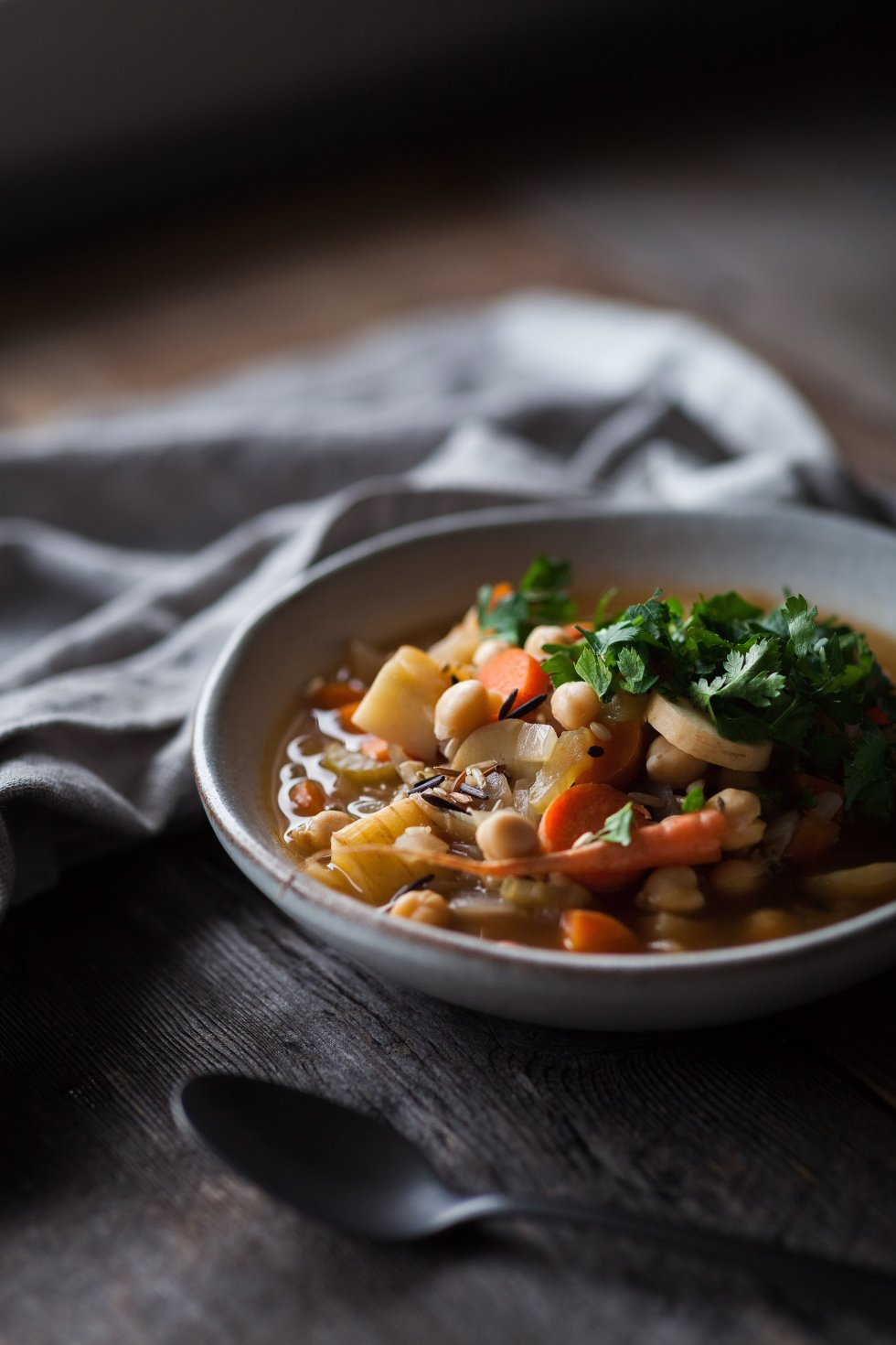 Winter Vegetable Soup with Chickpeas and Wild Rice 3/4 angle shot