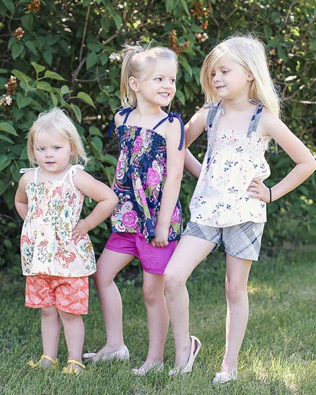 Angie's Shirred Shirt + Elle's Shorts | The Simple Life Pattern Company