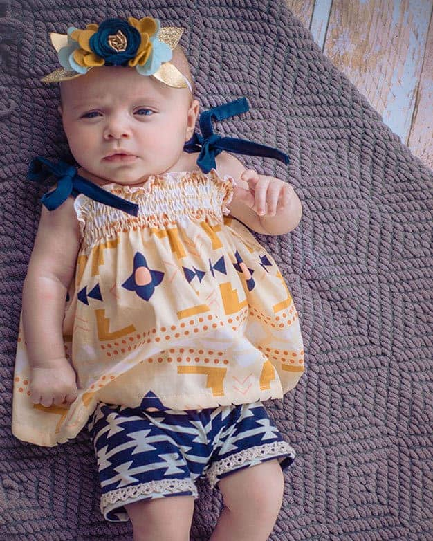 Baby Angie's Shirred Shirt + Elle's Shorts | The Simple Life Pattern Company