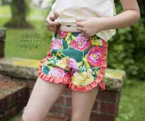 Tammy's Tulip & Ruffle Shorts. PDF sewing patterns for girl sizes 2t-12.