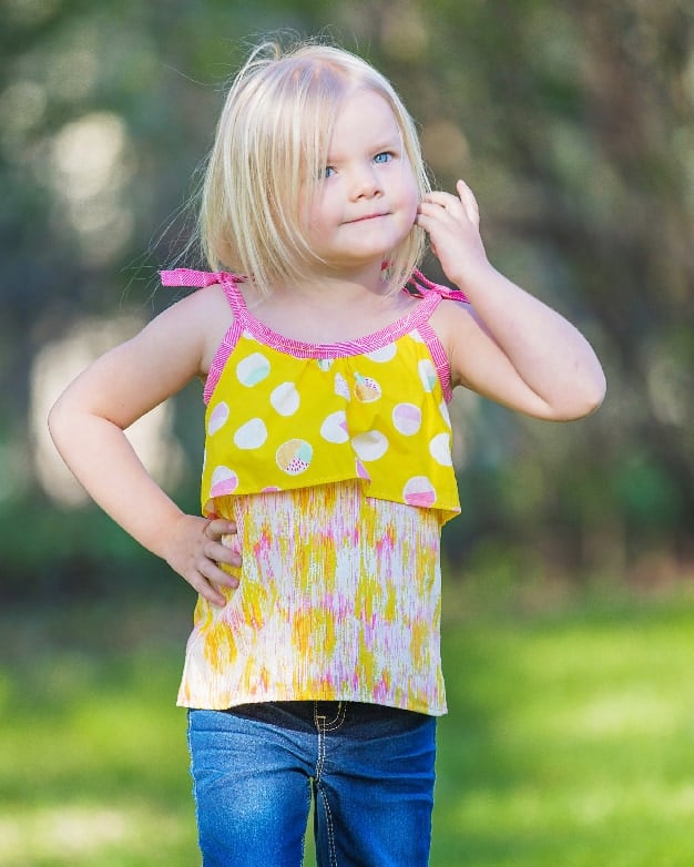 Simple Life Pattern Company in collaboration with Sew Caroline Waterfall Tank flounce top tie strap spaghetti straps spring summer fall layering top bows ruffle front pdf sewing pattern girls women 2t-12