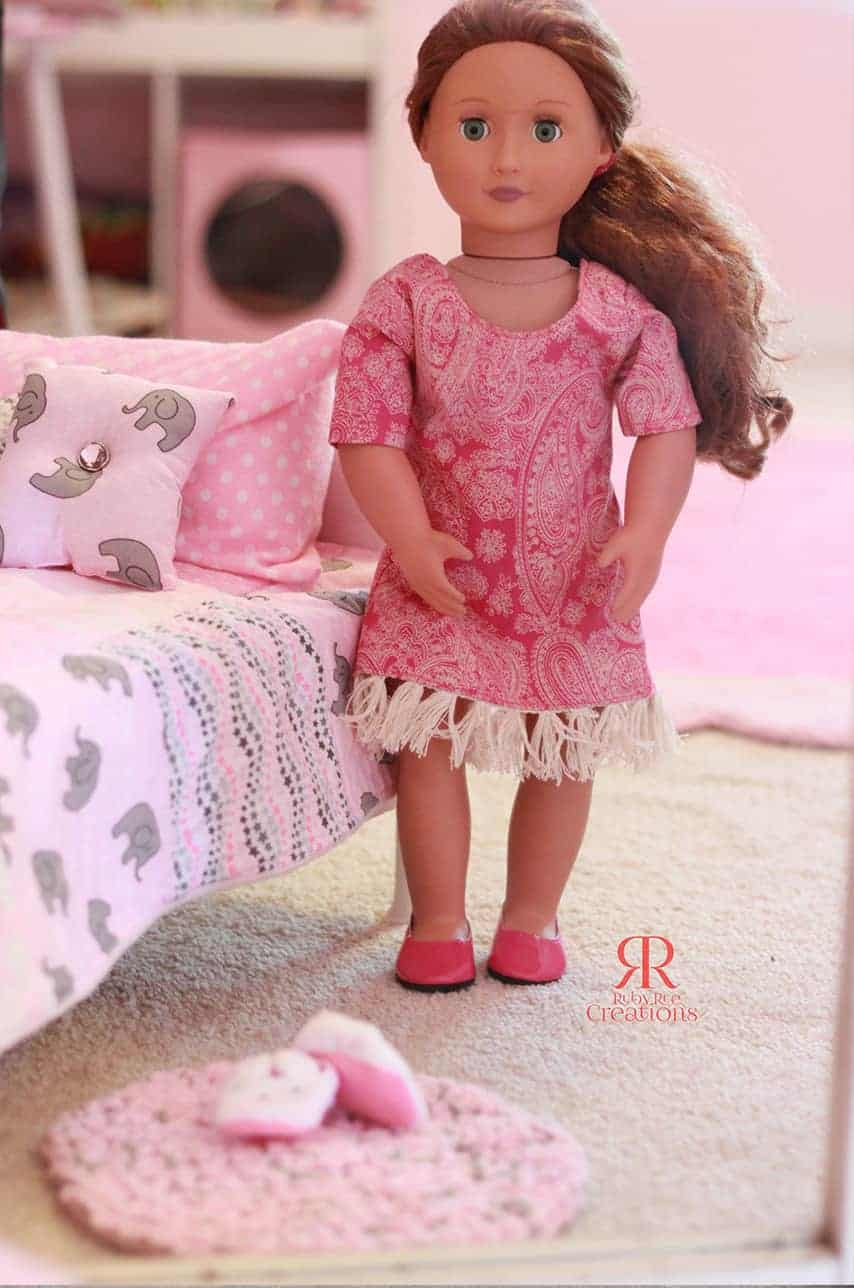 Simple Life pattern company doll Helena dolly button back top dress vintage doll patterns for american girl wellie wisher and bitty baby and my generation