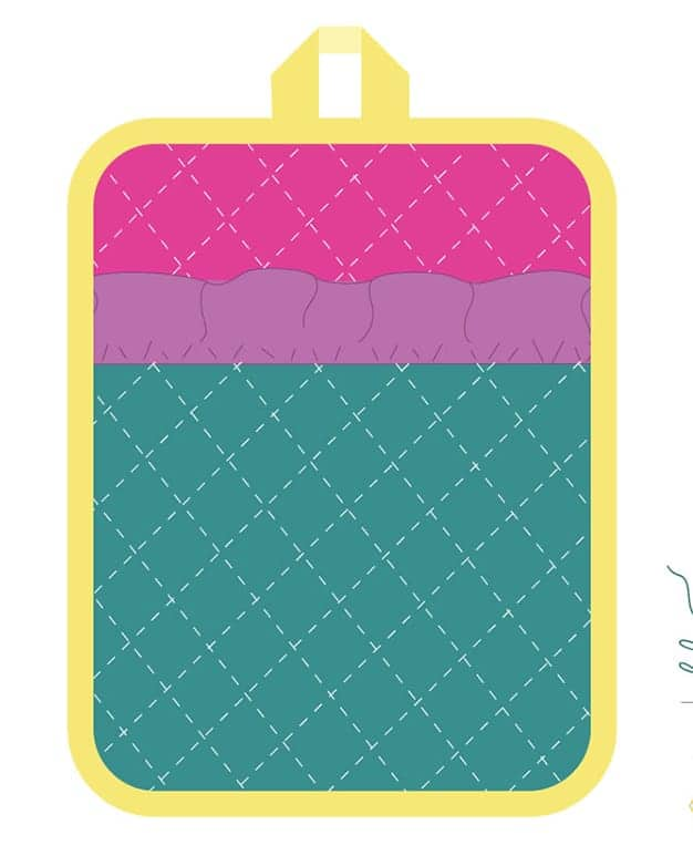 Simple Life Pattern Company free sewing pattern pdf svg cut file for cricut maker cutting machines silhouette cameo explore air 2 one design space downloadable download hot pad insulbright art gallery fabrics christmas gift sewing home decor kitchen sew easy fast pattern slpco agf aurifil thread 50 wt ruffle