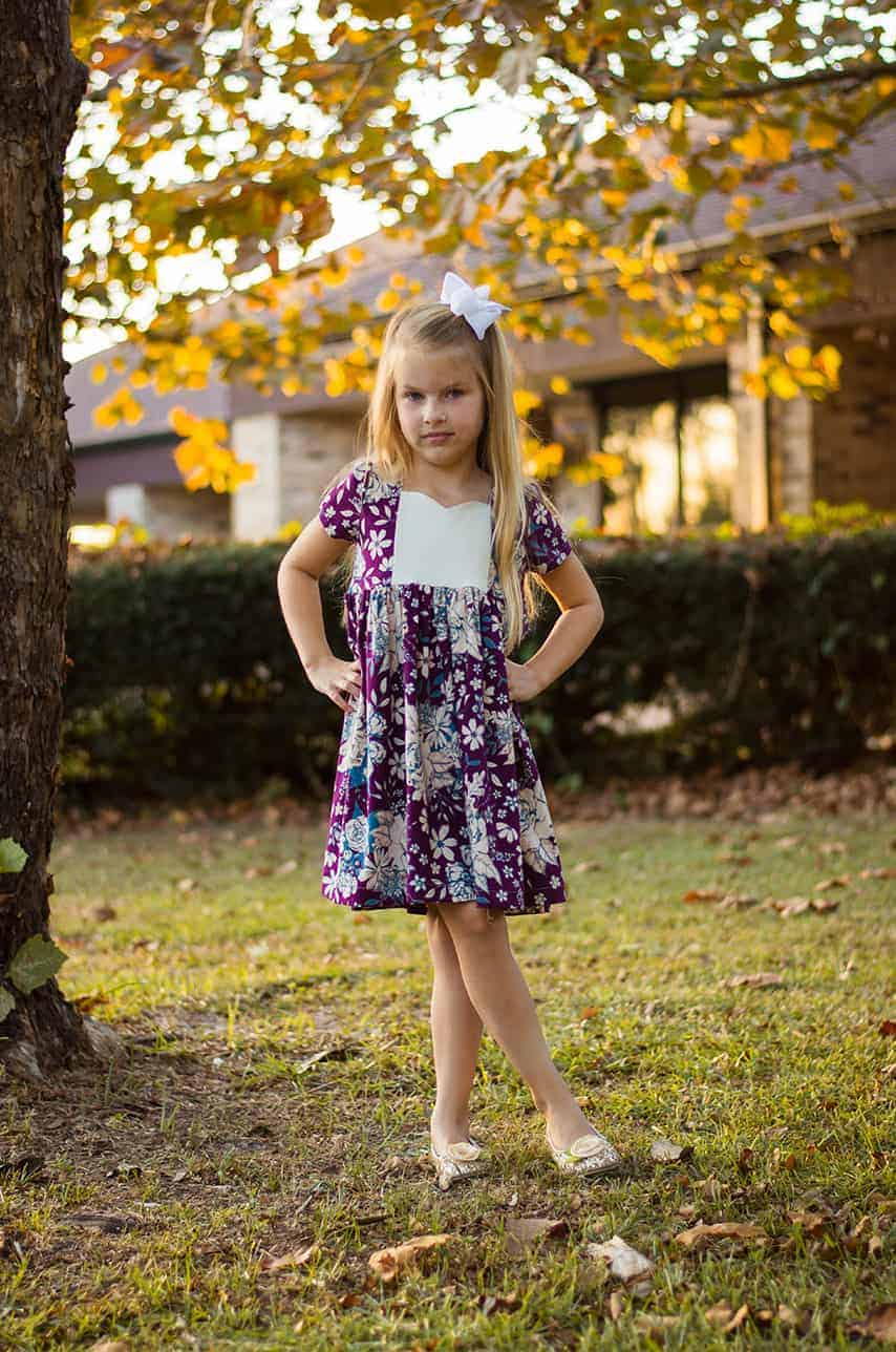 Ava's Pleated Dress | Simple Life Pattern Company pdf sewing pattern girls 2t-12 slpco pleats, pleated skirt box pleat sweetheart neckline spring, summer, fall, winter, sleeveless, long sleeve, button keyhole, deep hem, embroidery, bodice insert, top, dress, knit, pattern hack, tutorial, Knit Ava