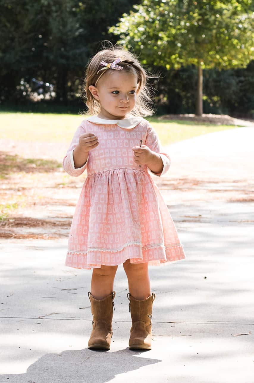 Simple life pattern company   Wendy's Classic Collar Dress. PDF Sewing Pattern Toddler Girl Sizes 2T-12. Peter Pan Collar, Sleeve with Cuff, Skinny Belt, Sleeves, Long 3/4, Short, Tank, Button Back, Deep Hem, Winter, Fall, Spring, Summer, Special Occasion, Holiday, Inseam Pocket, Collar