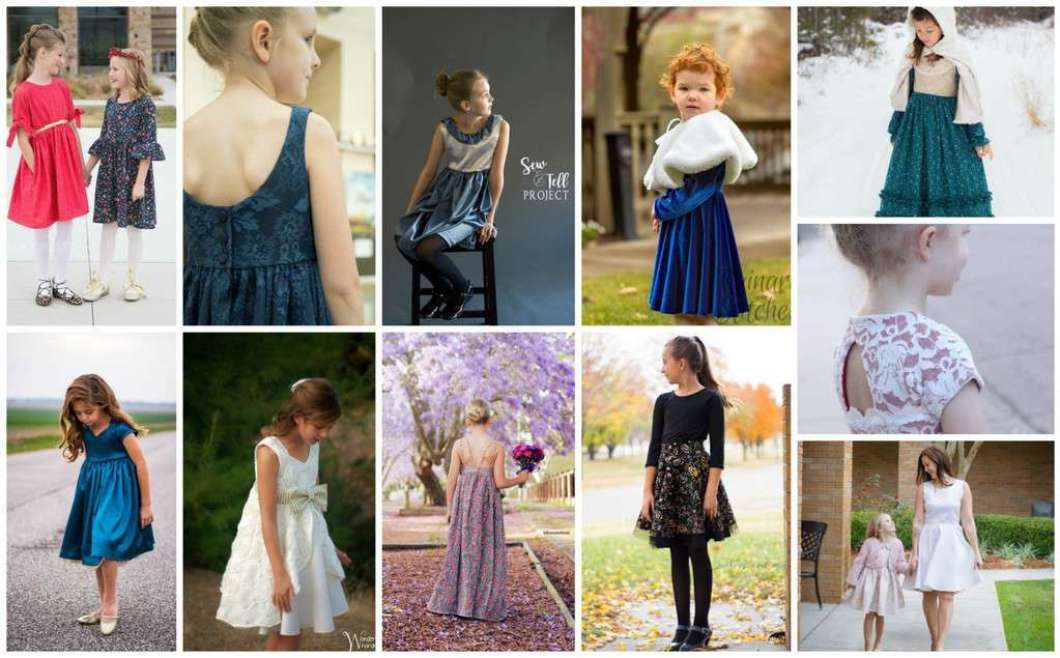 pecial occasion holiday blog tour I The Simple Life Pattern Company Jaimesyn double flutter Holiday dress gold lace overlay fancy party christmas dress wedding flower girl easter vintage style dress sewing PDF pattern beginner easy fast open back v back button placket dress
