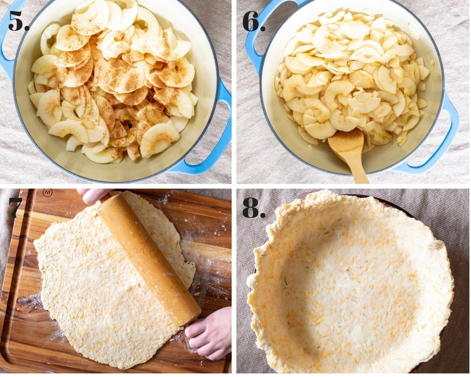 photo collage of steps to making apple pie filling