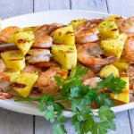 Grilled shrimp and pineapple kabobs.