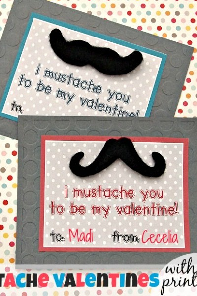 Adhesive Mustache Valentines with Free Printables!