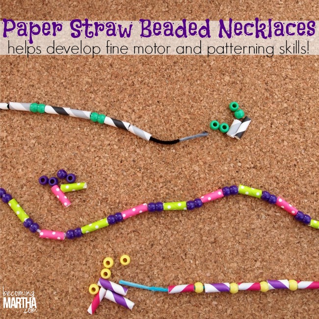 Paper Straw Necklaces make a great activity for kids - it helps with fine motor skills and math skills such as patterning!