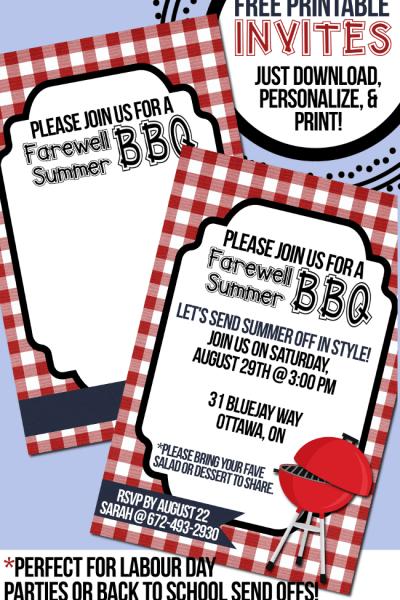 Farewell Summer - Free Printable BBQ Invitations