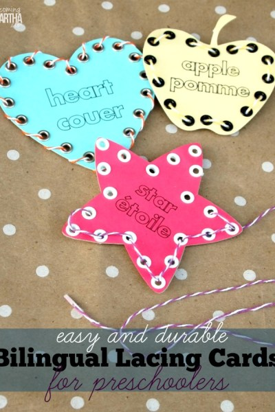 These easy and durable lacing cards can help develop your preschoolers fine motor and vocabulary skills!
