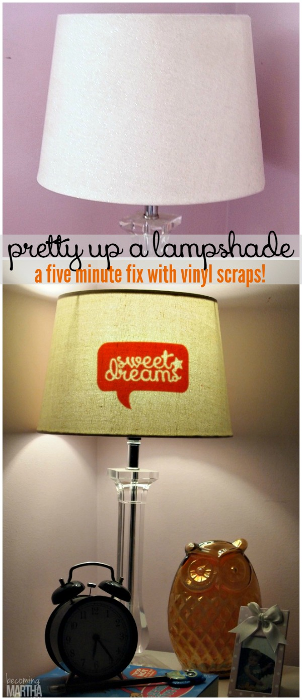 Pretty up a lampshade with this vinyl silhouette lampshade hack! A five minute fix that uses leftover vinyl scraps!