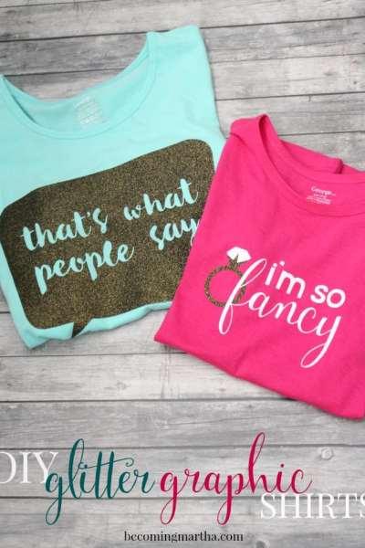 Get a start on back to school shopping by creating these fun and simple DIY Glitter Graphic Shirts!