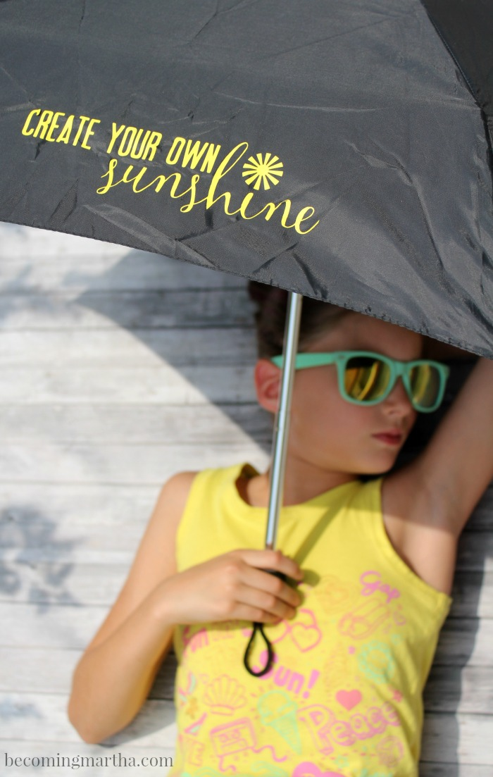 This Iron on Umbrella DIY is a quick project and a simple reminder that any day can be filled with sunshine, even if its raining!