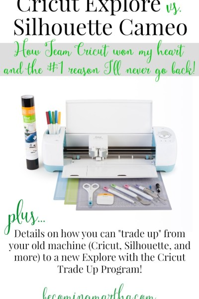 Cricut Explore vs. Silhouette Cameo: How Team Cricut Won My Heart (PLUS... Take adavntage of the new Cricut Trade Up program and get an awesome discount towards a new machine!)