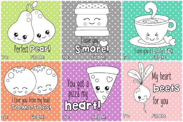 These free printable valentines are perfect for tweens or kids to hand out to classmates and friends. Just print, cut, hand out, and have fun coloring them!
