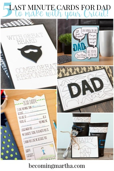 Here are some great ideas for last minute Fathers Day cards that you can create with the help of your Cricut and... a pen!