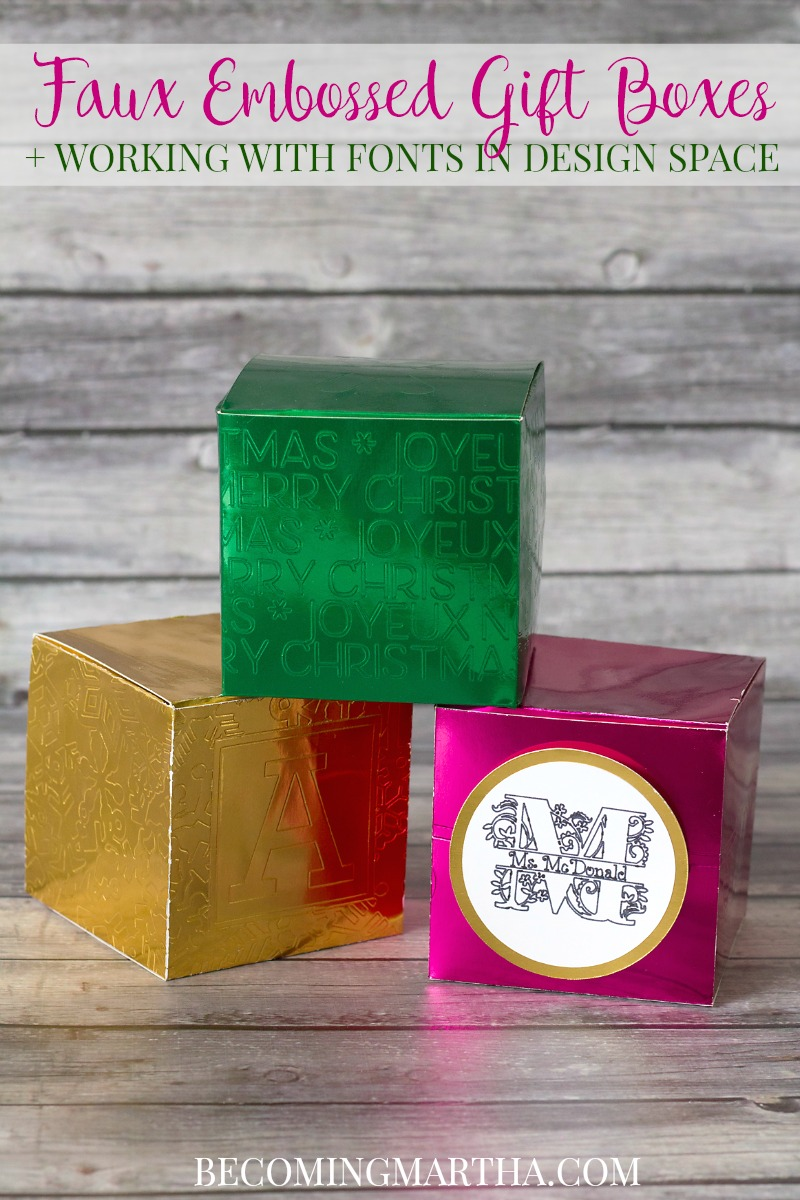 These faux embossed Cricut gift boxes make great teacher gifts when you fill them with a