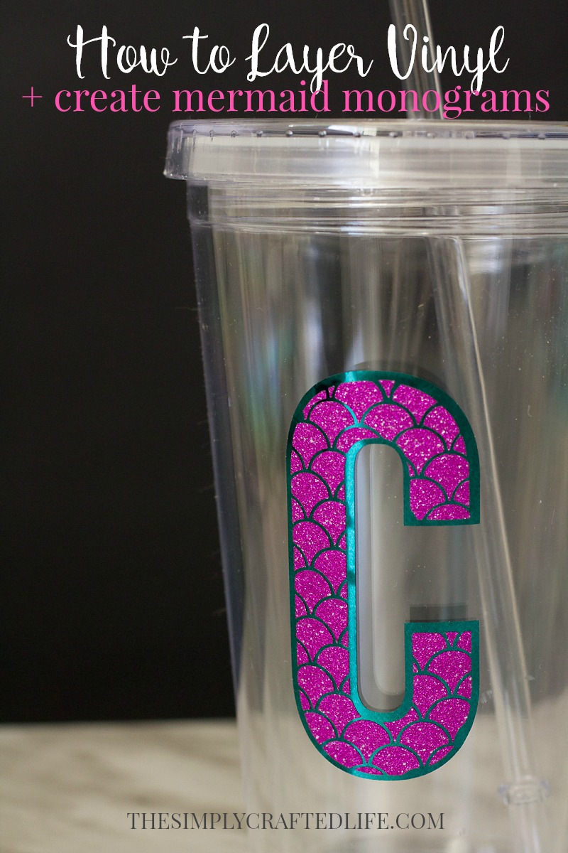 In this post, I'll share how to layer vinyl and use this technique to create a personalized mermaid monogram decal with my Mermaid Monogram SVG Files.