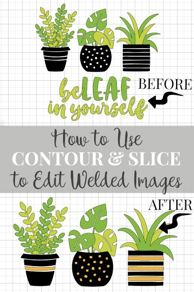 Learn how to use contour tool and slice tool in Cricut Design Space to customize images that already have welded layers.