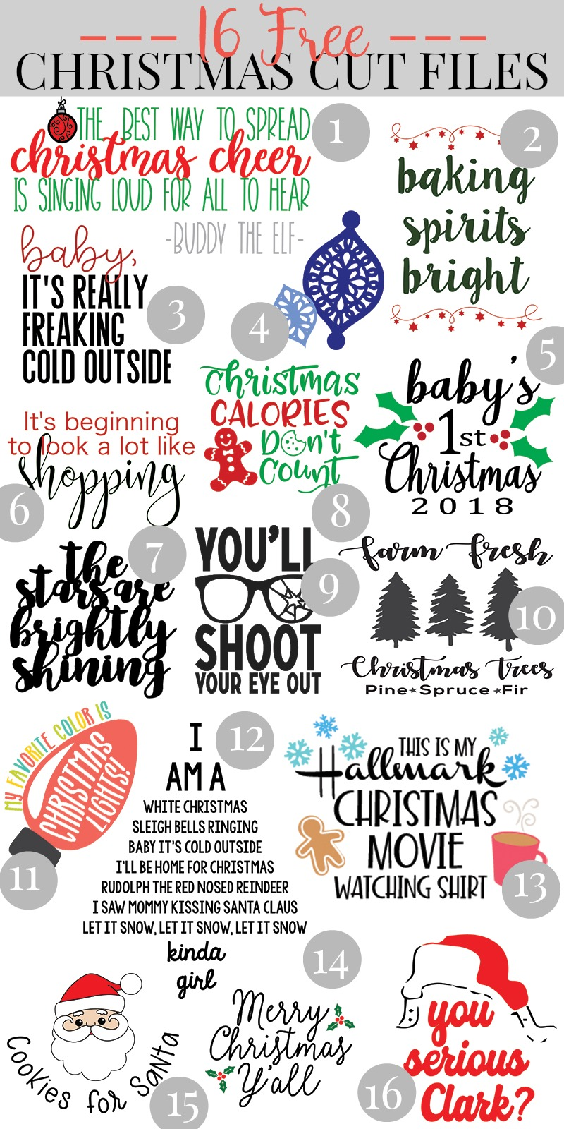 Free Elf Movie Svg Cut File Over 15 Free Christmas Svg Files